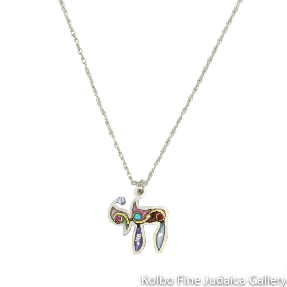 Necklace, Colorful Chai Pendant with Gold Accents, Resin on Stainless Steel with Crystals