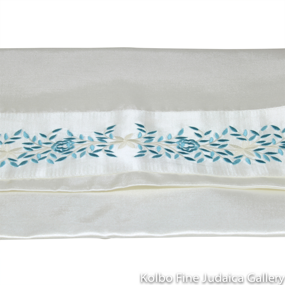 Tallit Set, Embroidered Vine Design in Pale Blue on White Brushed Cotton