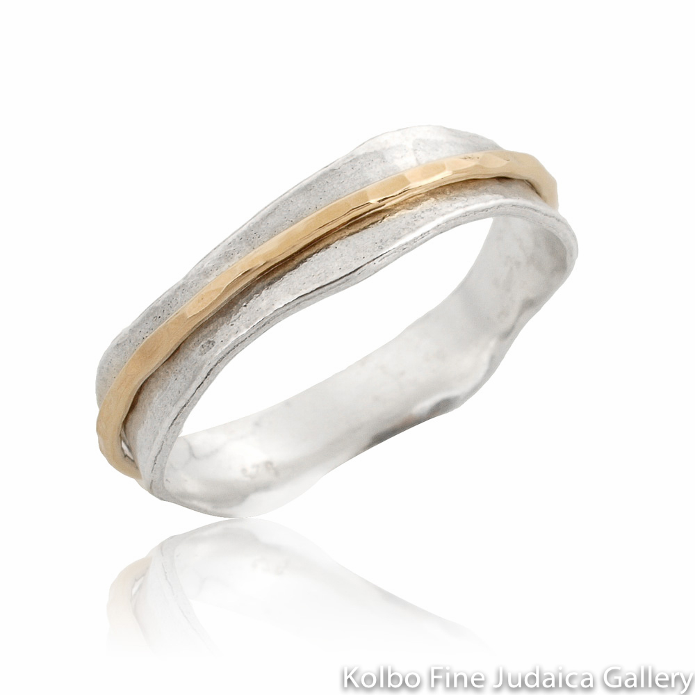 Ring, Wavy Sterling Silver Band with Thin, Hammered Gold-Filled Spinner