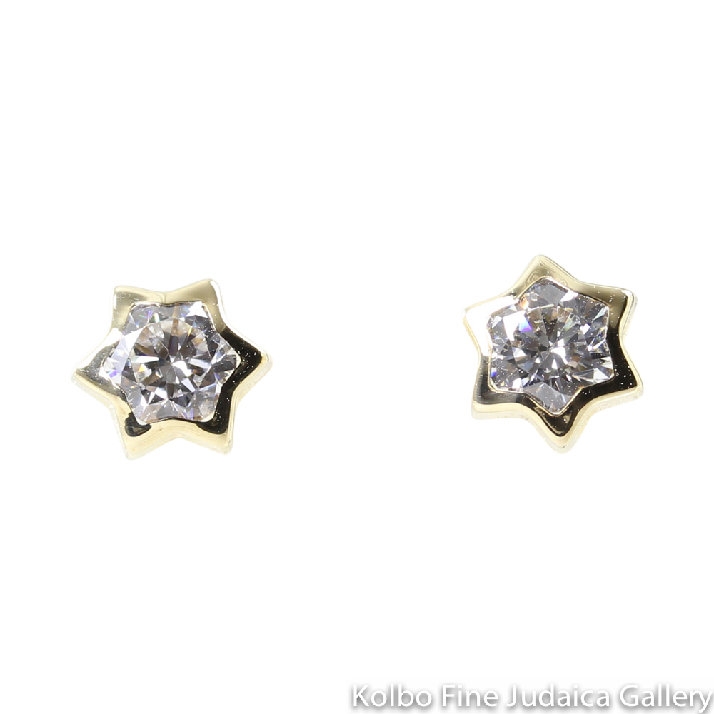 Earrings, Star of David, 14k Yellow Gold with Clear Cubic Zirconium