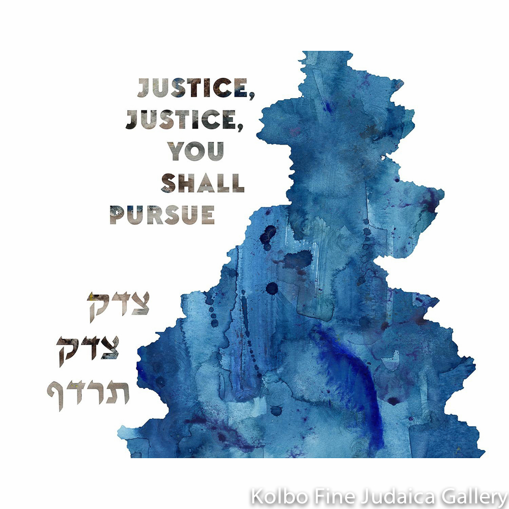 Justice Justice, Water Design in Hebrew and English, Framed