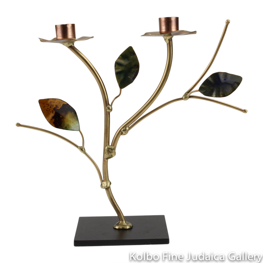 Candlesticks, Even Height with Enameled Leaves, Brass and Copper