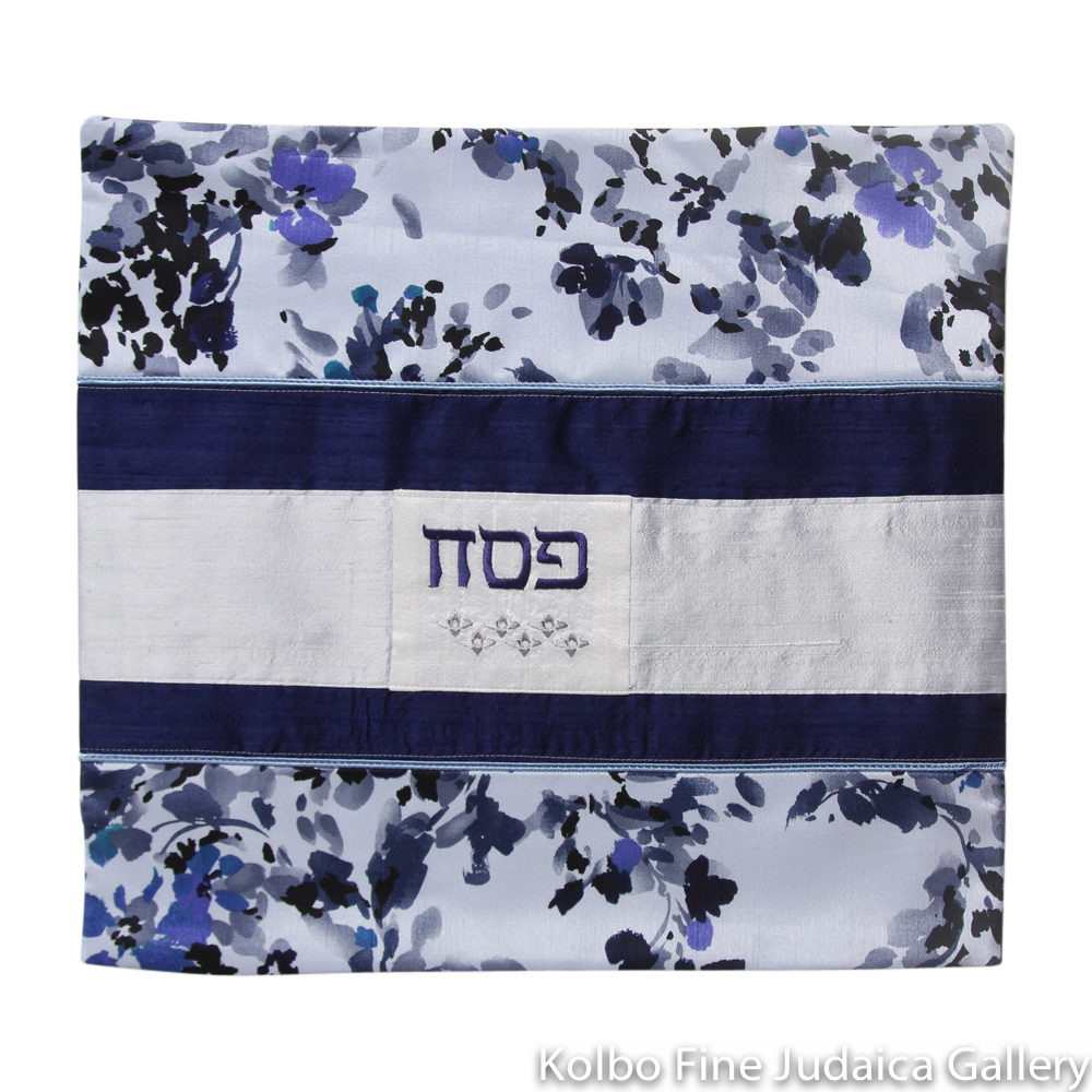 Matzah Cover, Blue Floral Design, Raw Silk and Cotton, One-of-a-Kind
