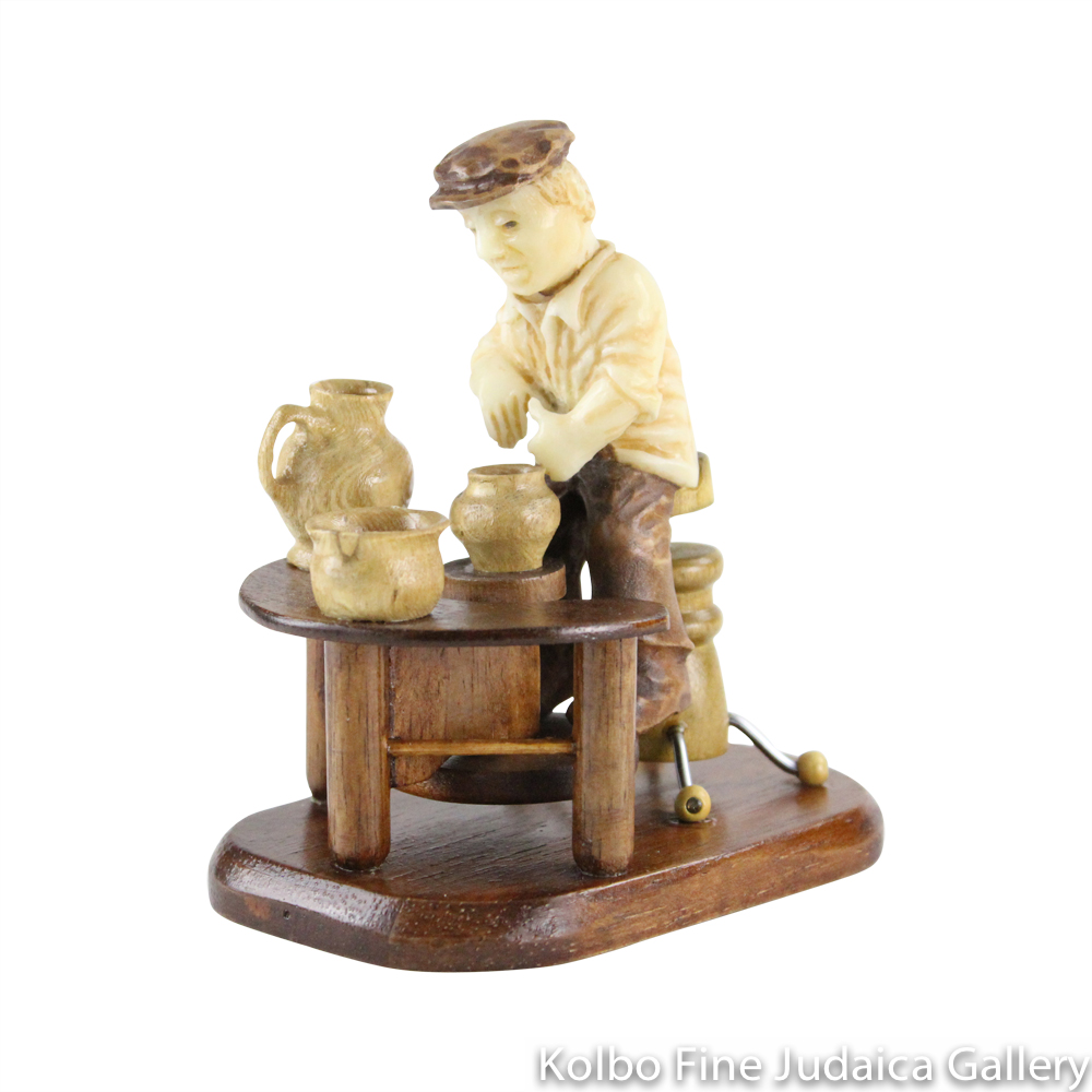Collectable, Potter in Shtetl Scene, Hand-Carved from Tagua Nut and Wood