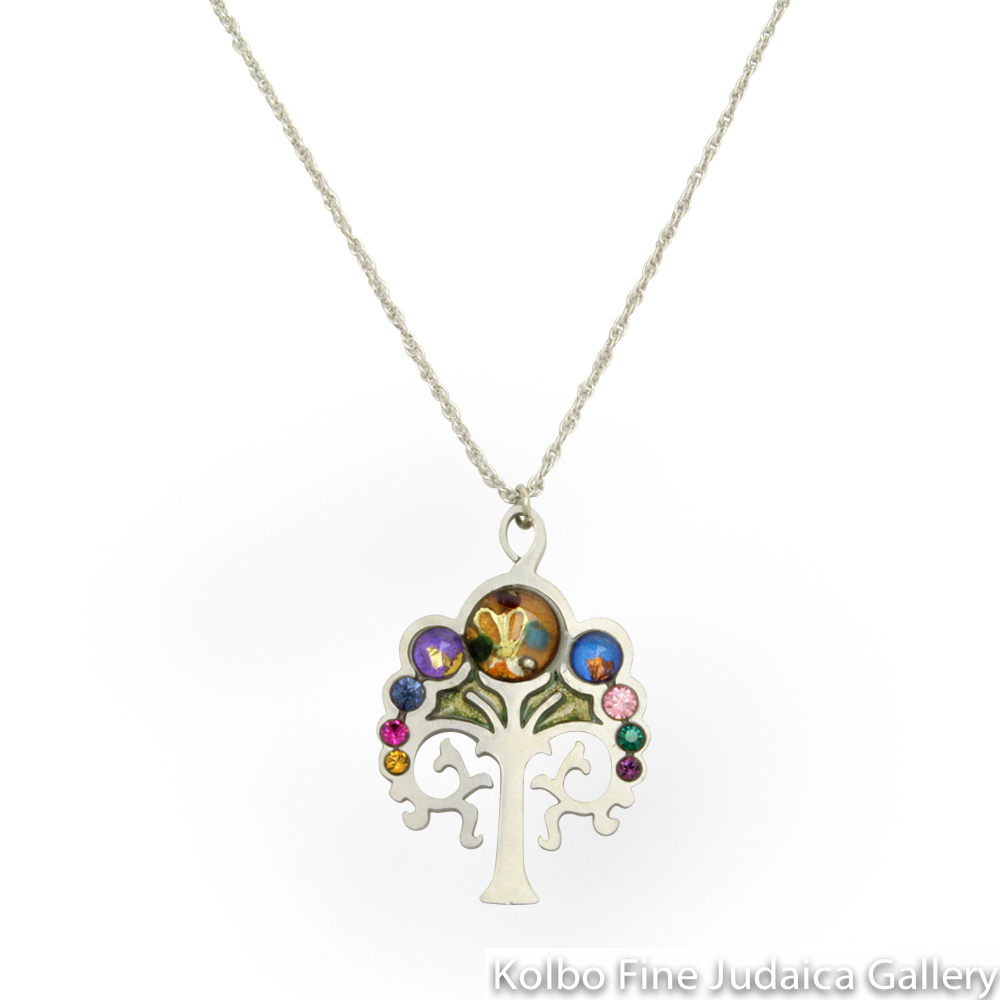 Necklace, Multicolor Tree of Life, Resin on Stainless Steel with Crystals