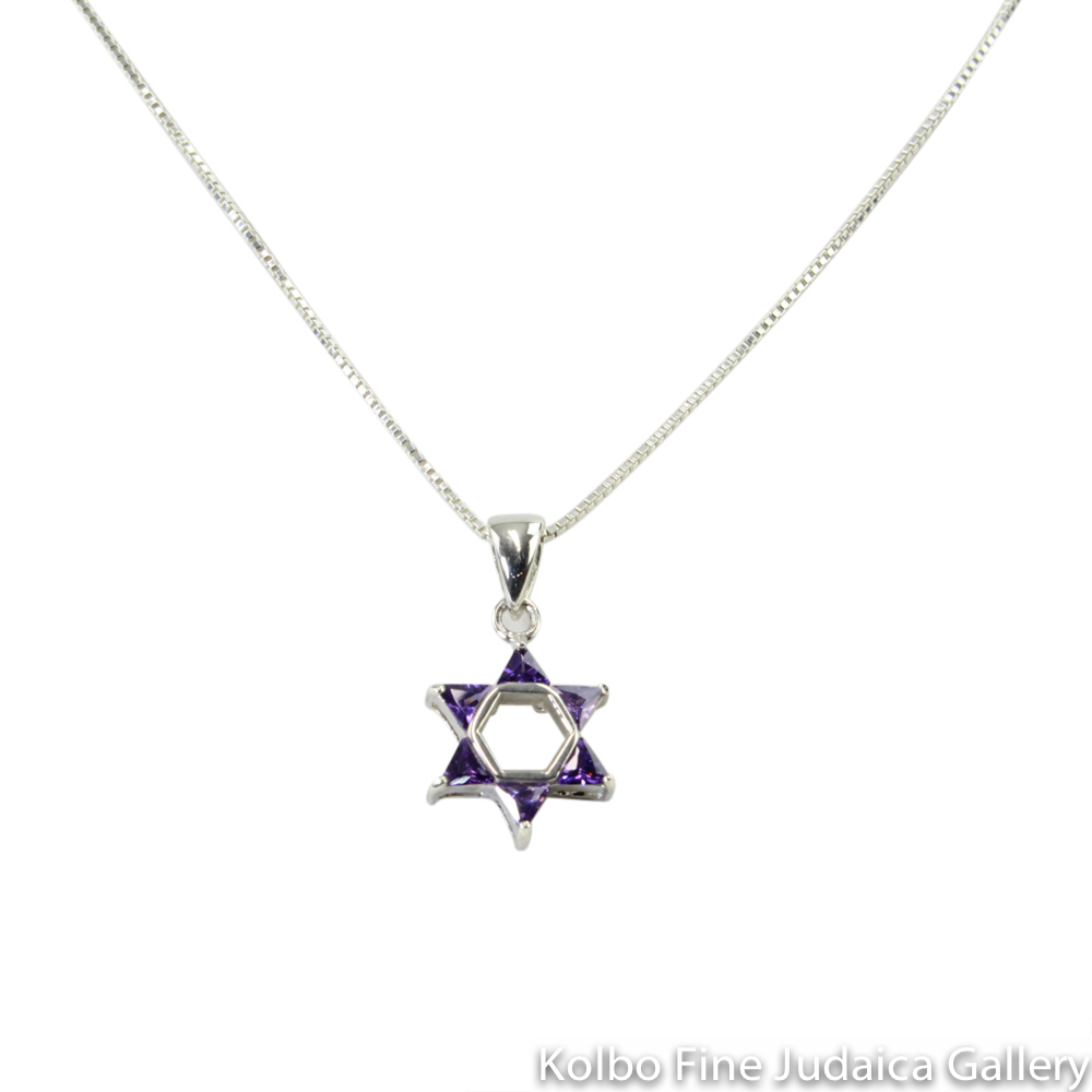 Necklace, Star of David Purple Design, Sterling Silver and Glass