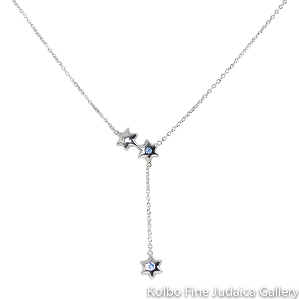 Necklace, Three Small Dangling Stars with Blue CZ Stones, Sterling Silver