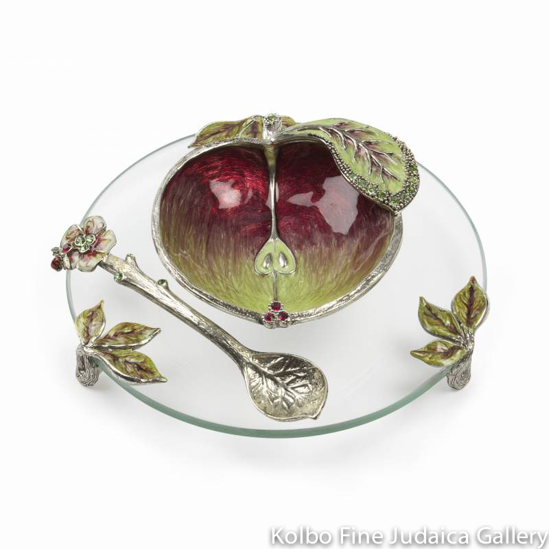 Honey and Apple Set, Apple Design in Pewter with Enamel and Swarovski Crystals