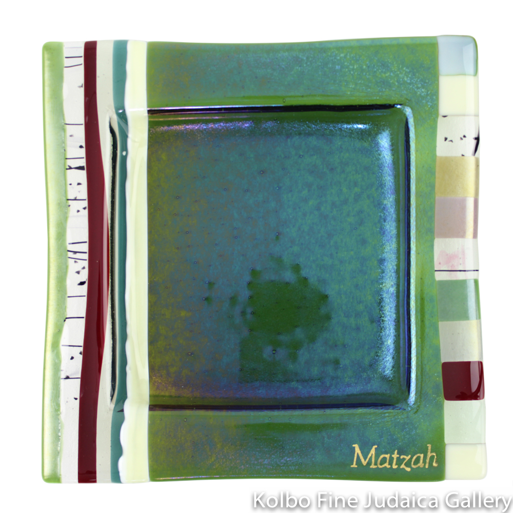 Matzah Plate, Fused Glass, Iridescent Green with Earthtone Details