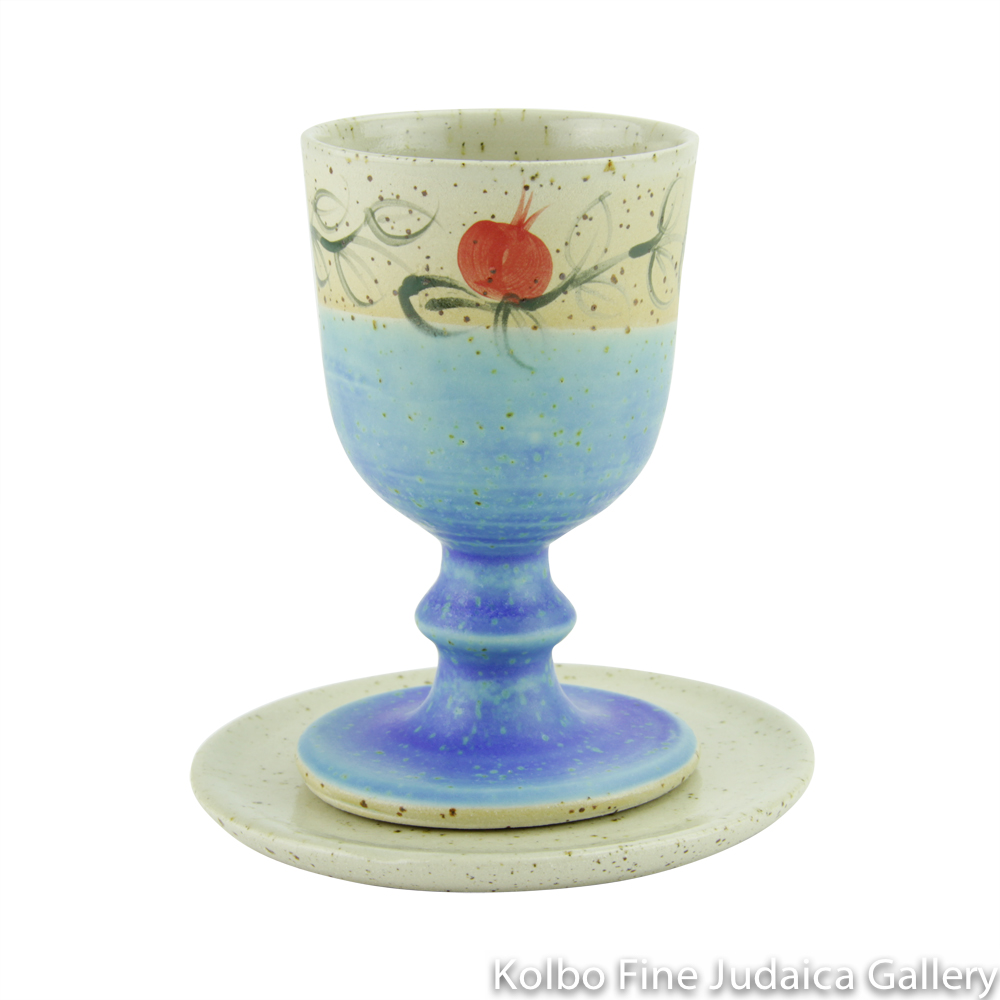 Kiddush Cup and Saucer, Pomegranate Design in Turquoise, Ceramic