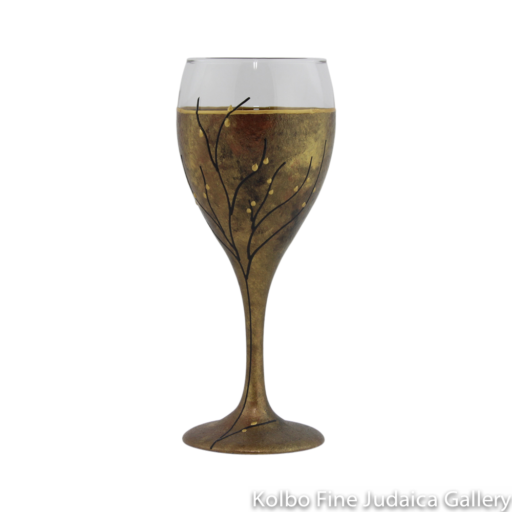 Kiddush Cup, Hand-Painted Glass with Copper Tones