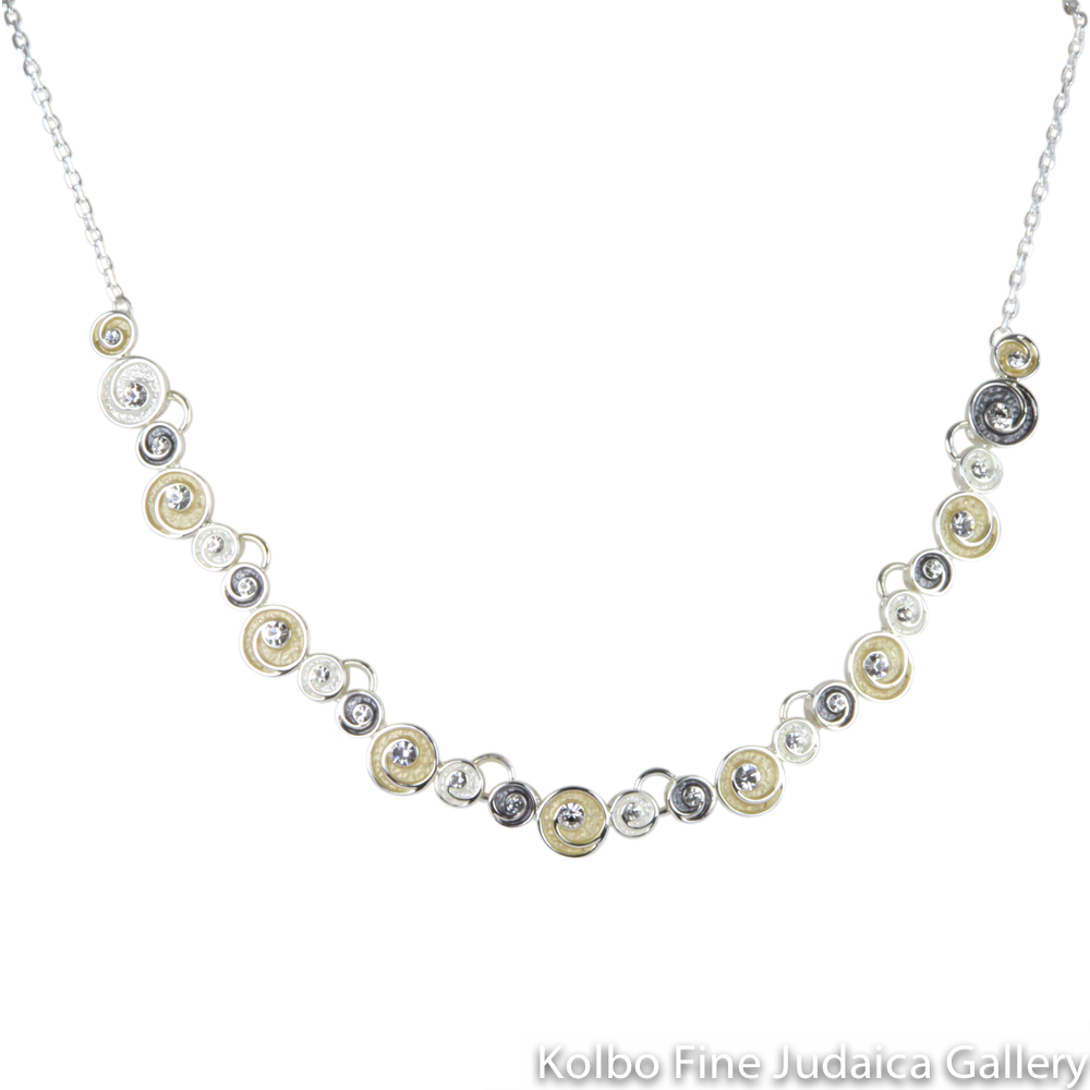 Necklace, Swarovski Crystal Linked Circles, Sterling Silver and Gold Plated