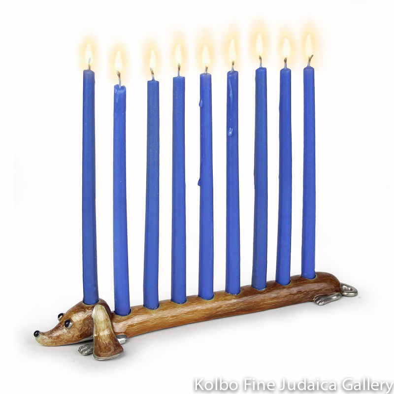 Menorah, Long Dog Design, Pewter with Enamel