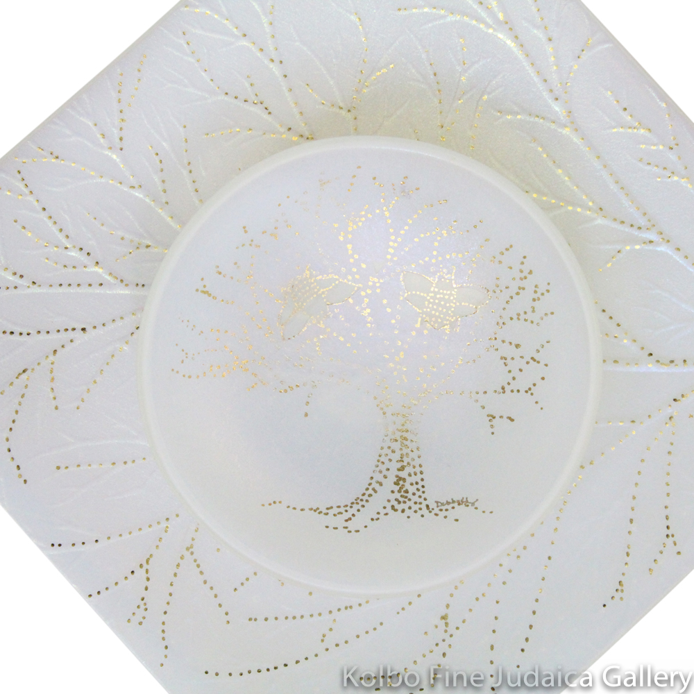 Honey and Apple Set, Square Leaf Plate with Honeybee Bowl, Glass with Opaline Glaze