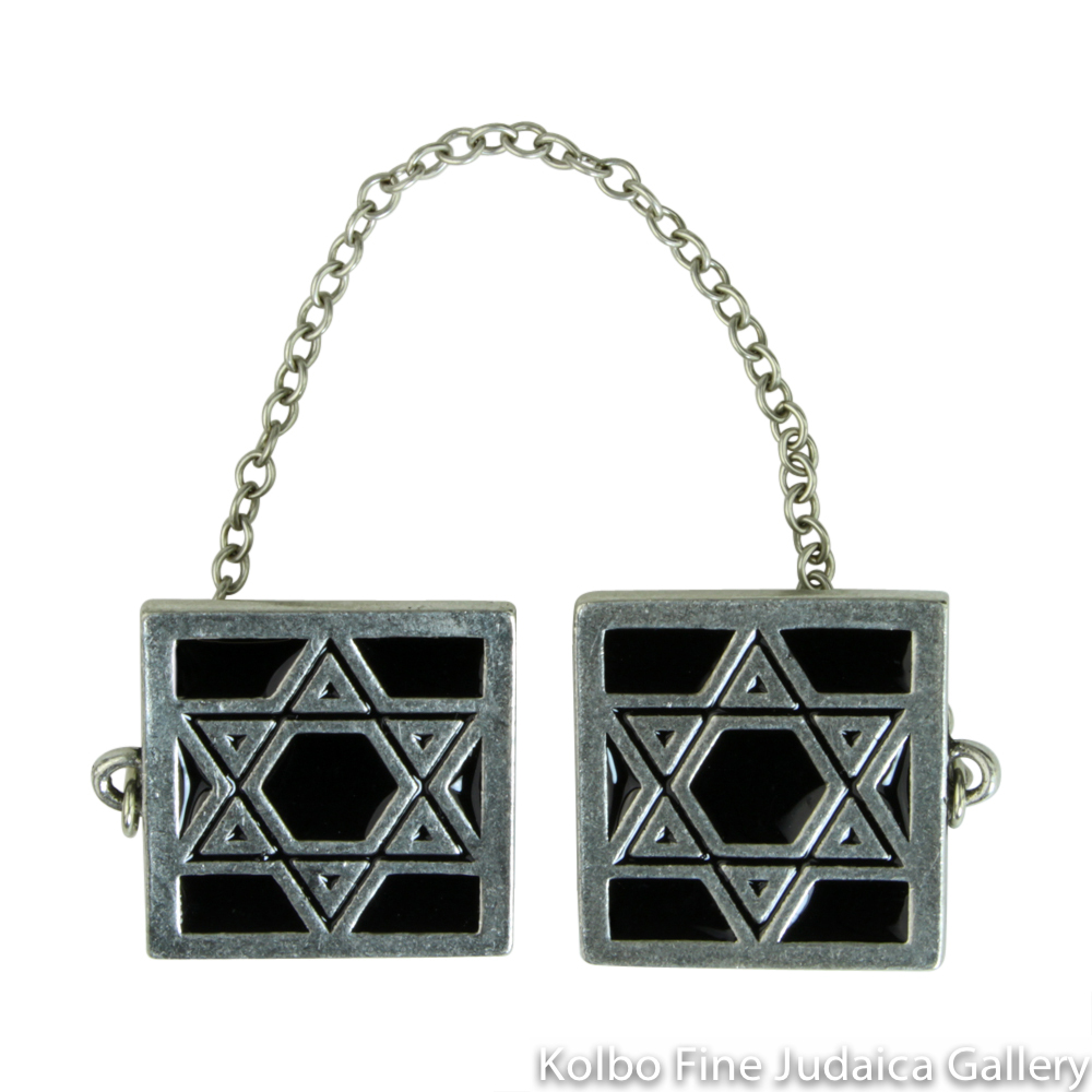 Tallit Clips, Square Star Design in Black, Pewter with Enamel