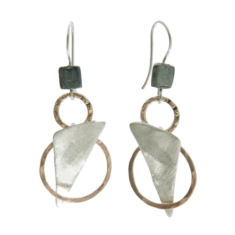 Earrings, Multimetal Layered Shapes, Sterling Silver, Oxidized Silver, and Gold-Filled, on Wire