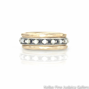 Ring Set, Thin Gold-Filled and Sterling Silver Bands with Moonstone