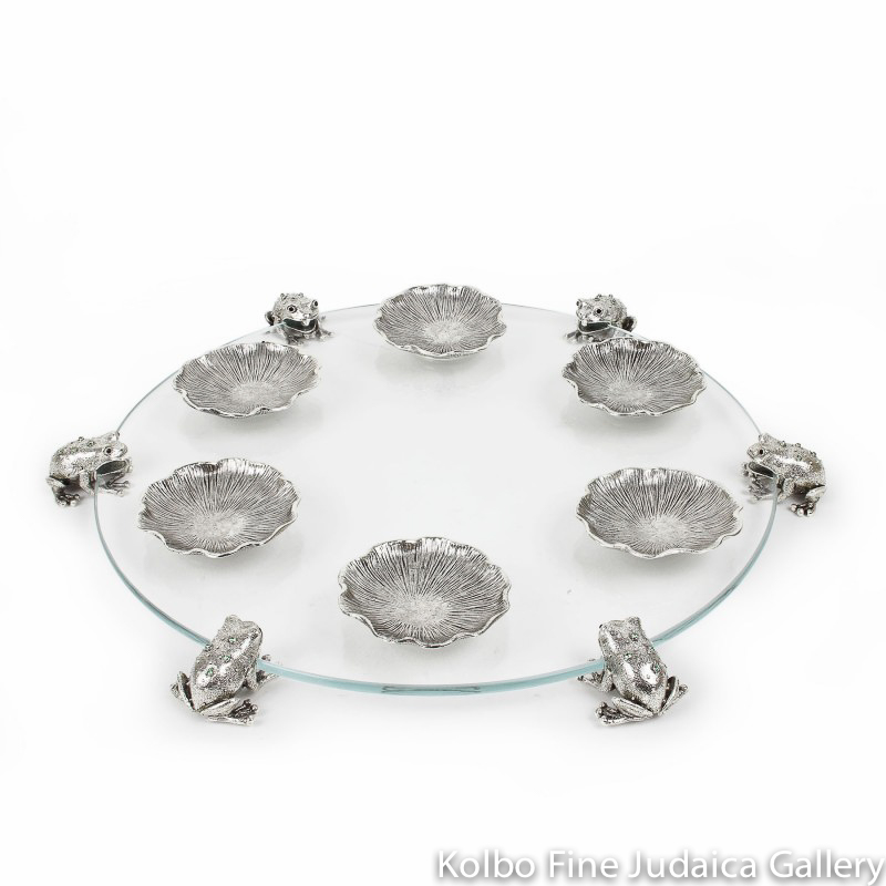 Seder Plate, Frog Design, Pewter with Swarovski Crystals and Glass
