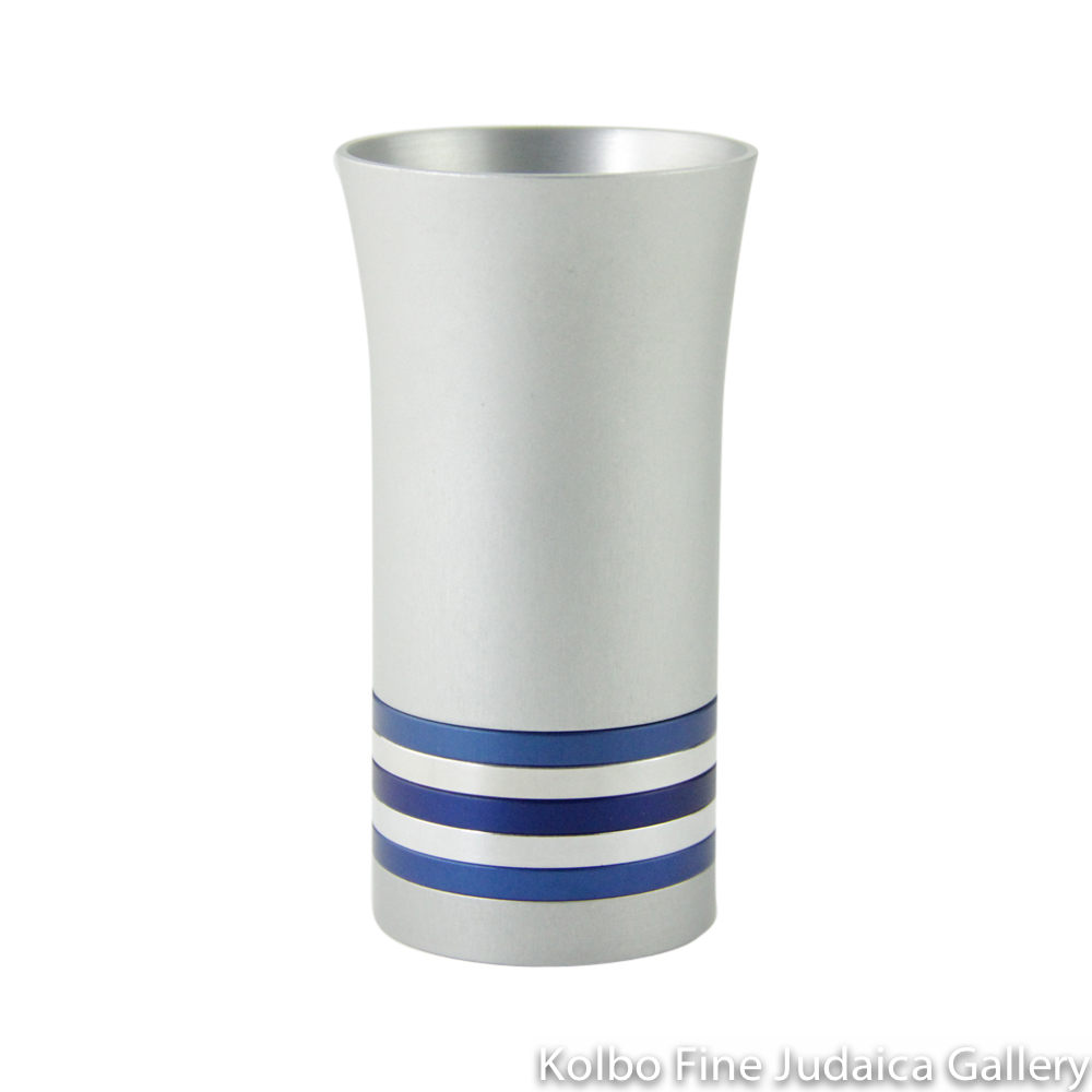 Kiddush Cup, Modern Anodized Aluminum Design with Blue and Silver Rings