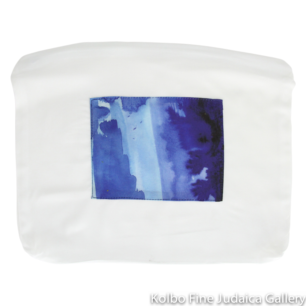 Tallit Set, Blue Watercolor Stripes, Silk