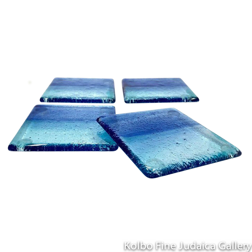 Coasters, Cobalt and Teal Fused Glass, Set Of Four