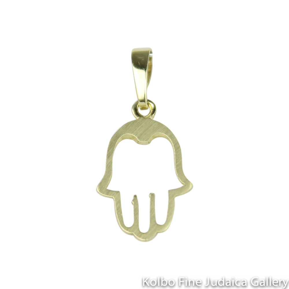 Pendant, Cut Out Hamsa Design, 14K Gold, Small Size