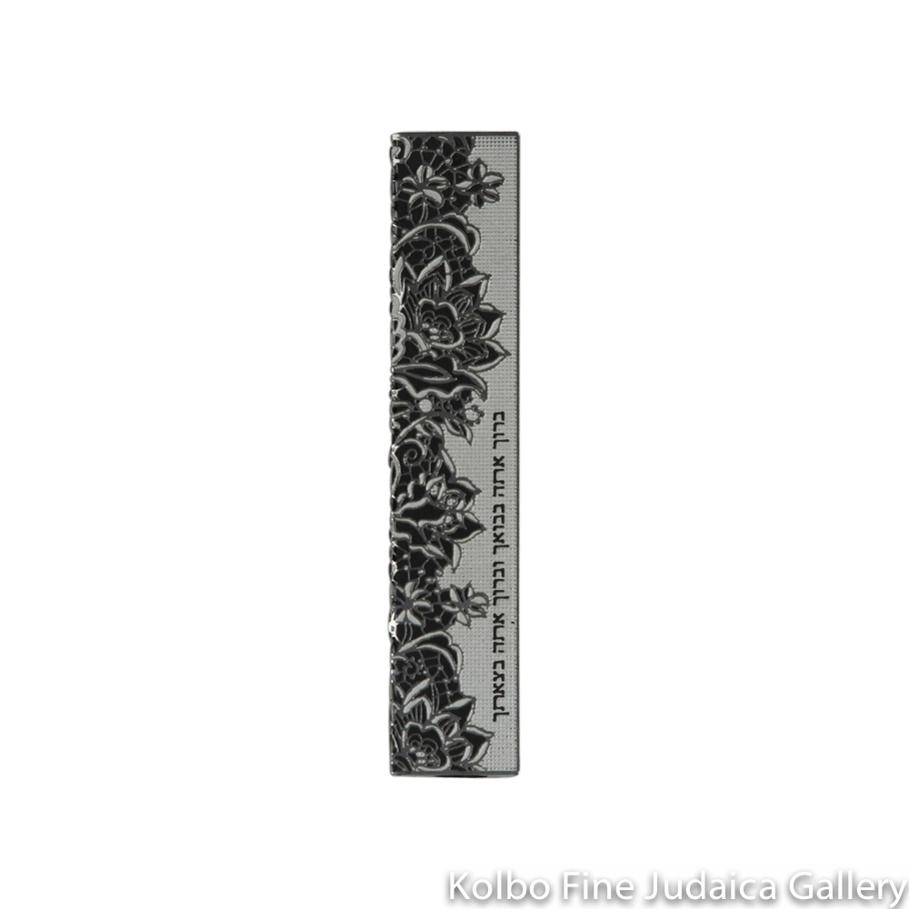 Mezuzah, Cut Out Floral Design with Hebrew Blessing, Stainless Steel on Black Background