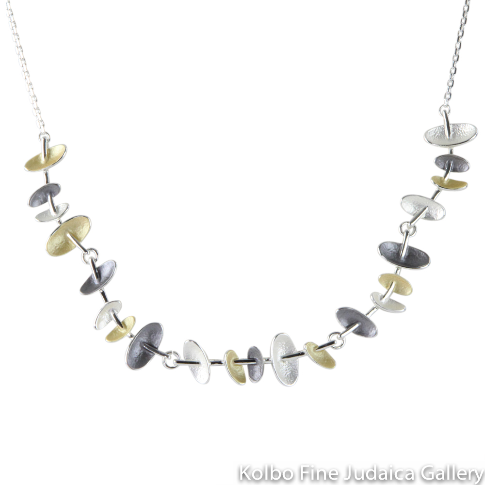 Necklace, Oval Design, Two Layers, Sterling Silver and Gold Plated