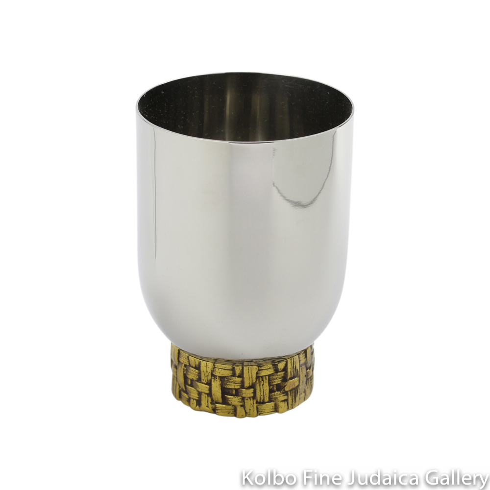 Kiddush Cup with Palm Branch Design, Stainless Steel and Antique Goldtone