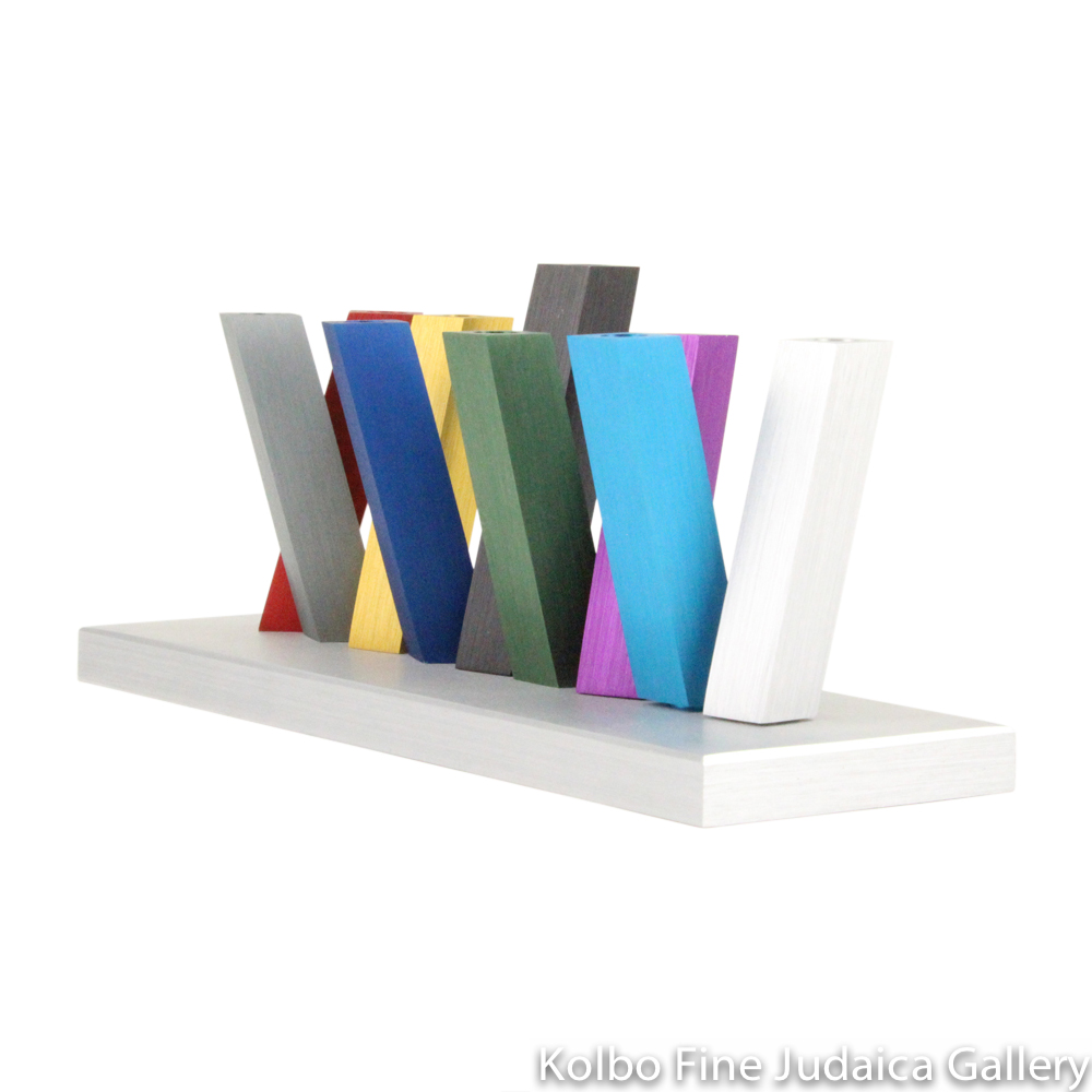 Menorah, Arrangeable Design, Rainbow-Colored Anodized Aluminum on Silver Base