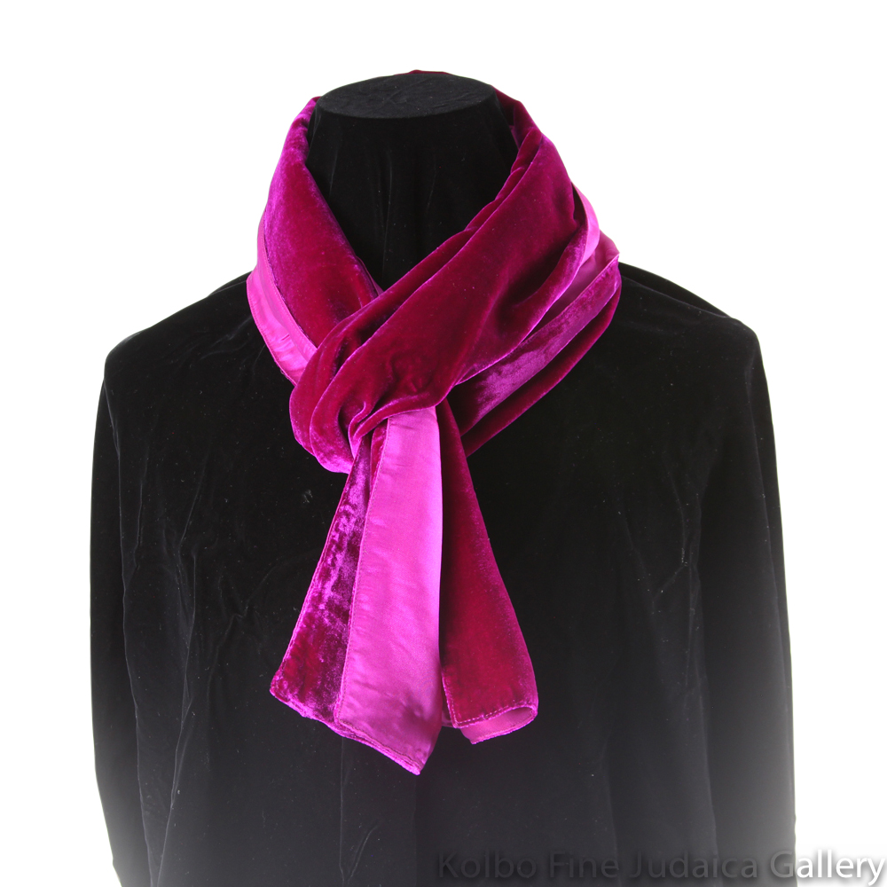Scarf, Magenta and Fuchsia Two-Tone Design, Velvet and Silk, Hand-Made