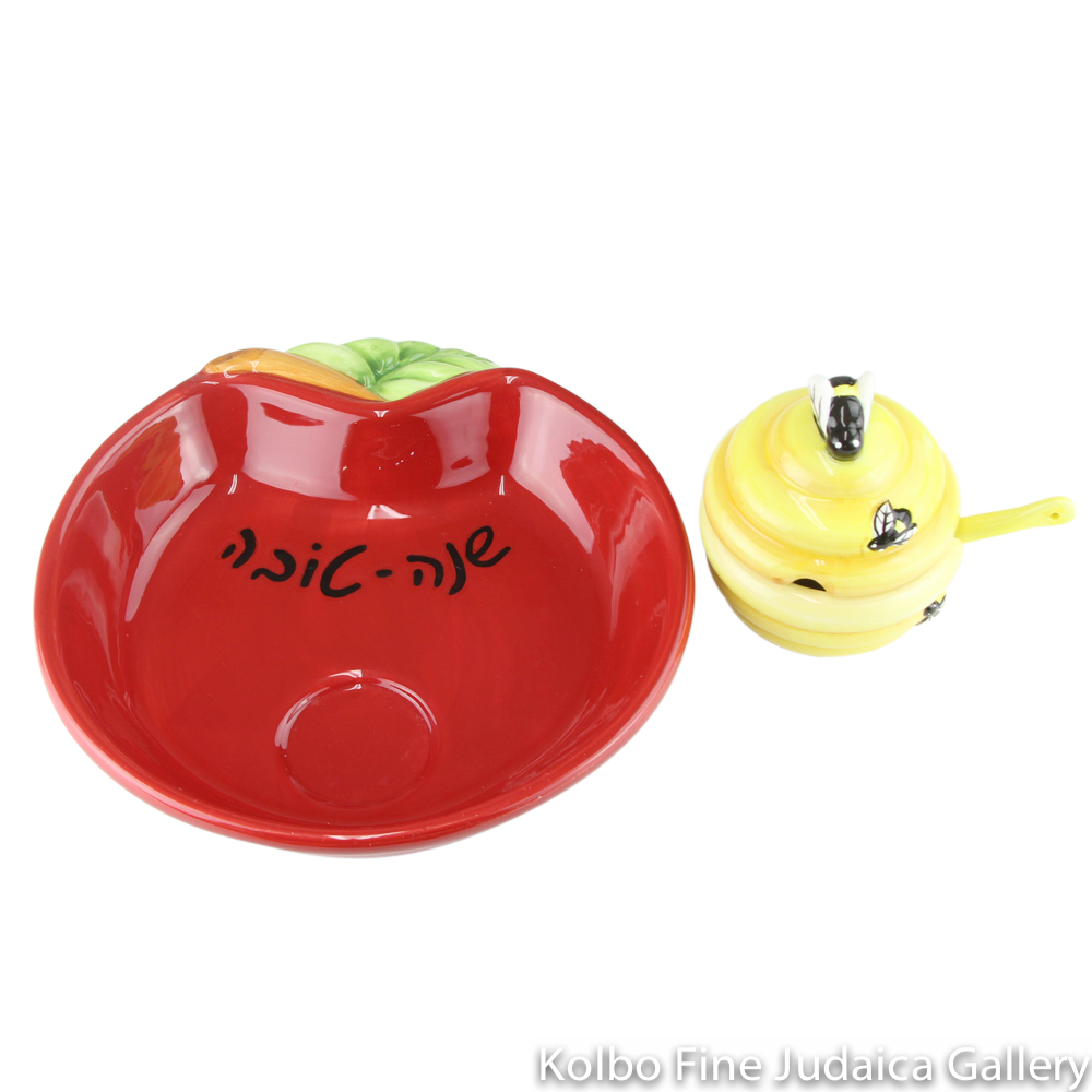 Honey and Apple Set, Small Beehive Sits Atop Apple Shaped Plate, Painted Porcelain