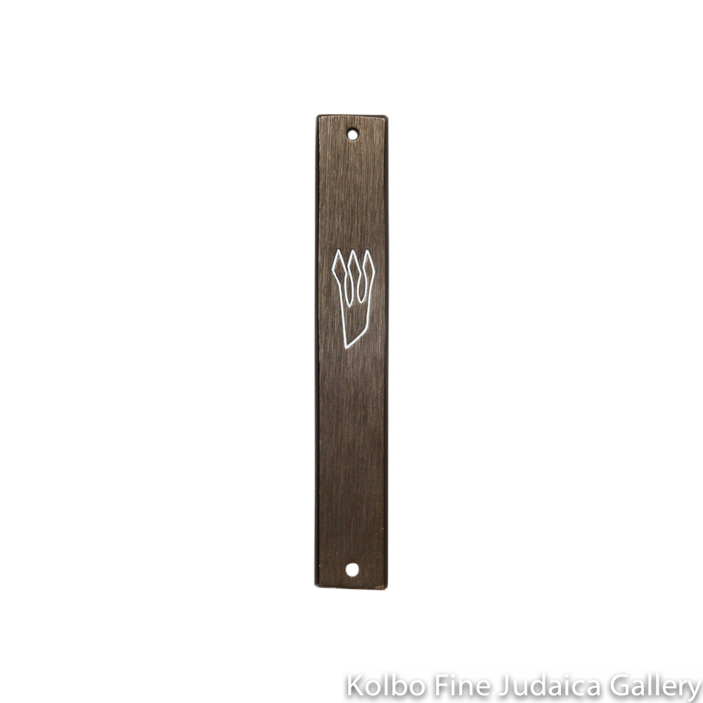 Mezuzah, Plain Dark Brown With White Shin, Aluminum