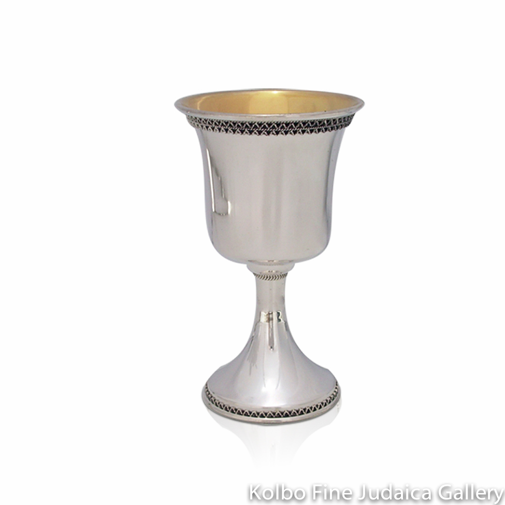 Kiddush Cup, Traditional Design, Sterling Silver, Small