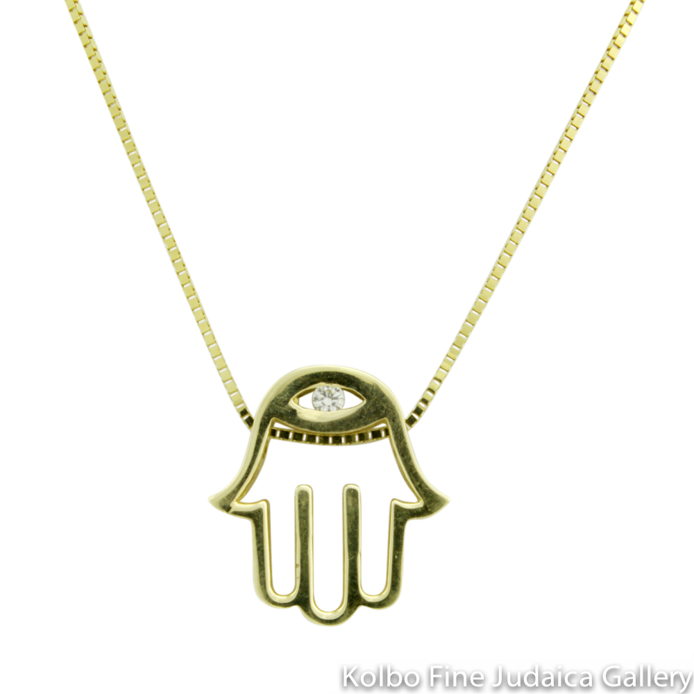 Necklace, Hamsa Thick Modern Design with Diamond Eye, 14k Yellow Gold