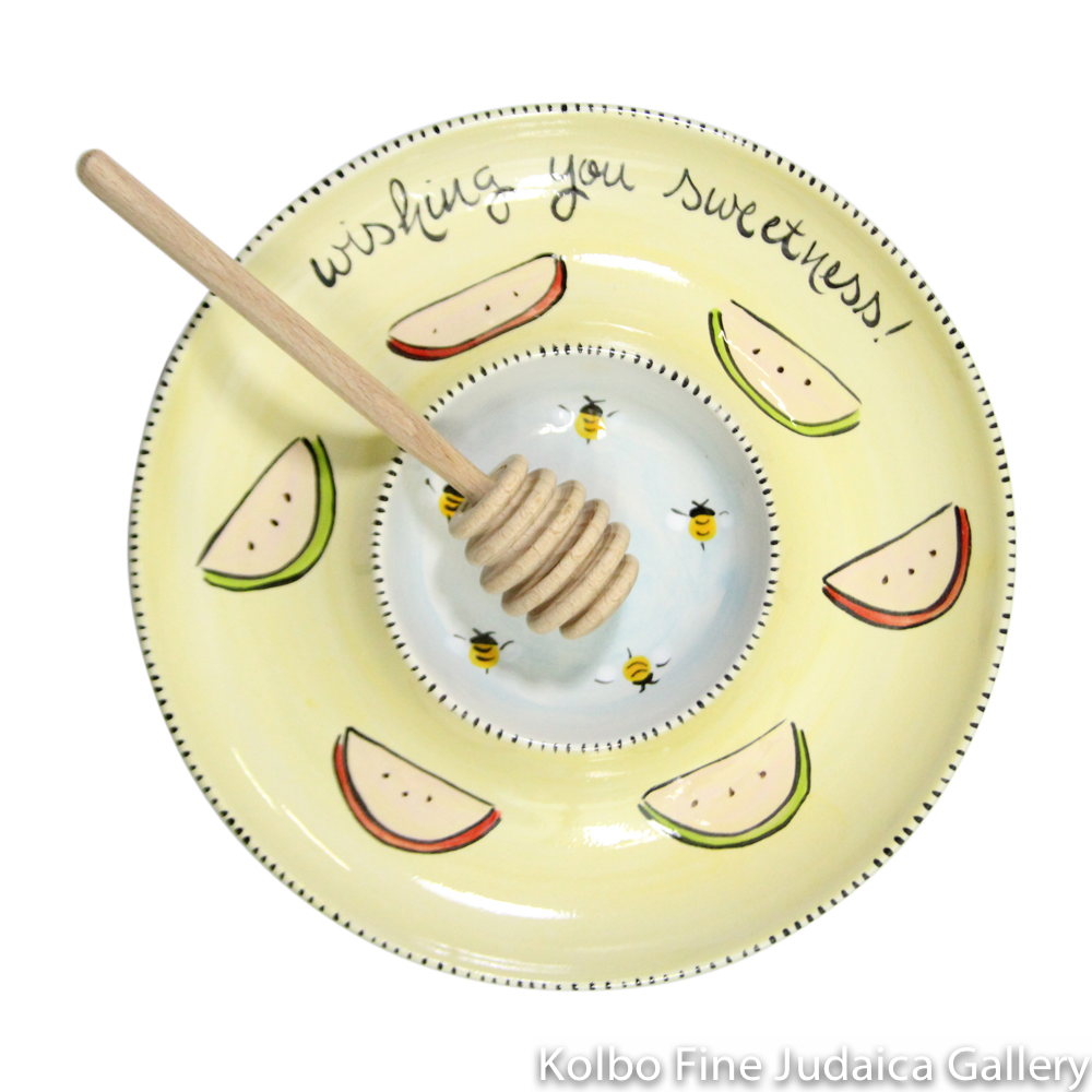 "Honey and Apple Set, ""Wishing You Sweetness,"" Hand-Painted Ceramic"