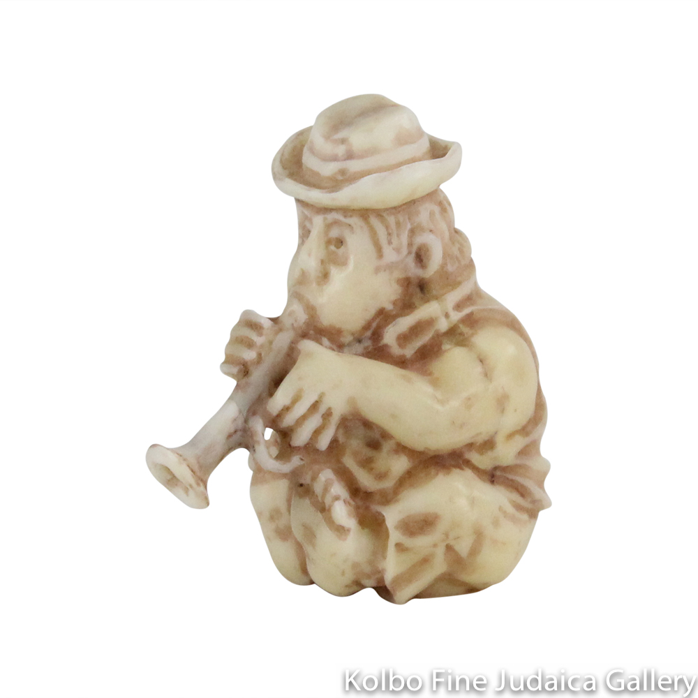 Collectable, Trumpet Player, Small Size, Hand-Carved from Tagua Nut and Wood
