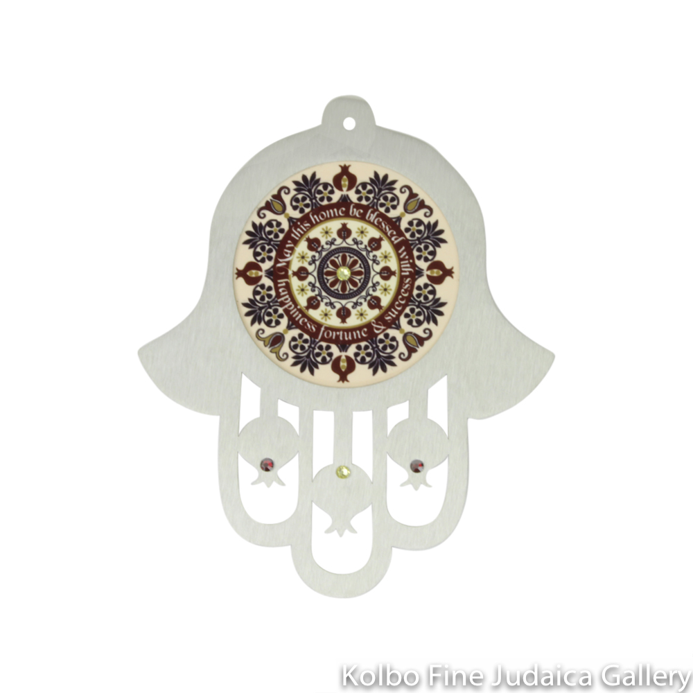Hamsa for the Wall, Laser Cut Steel, Home Blessing in Burgundy and Pink with Red and Champagne Crystals