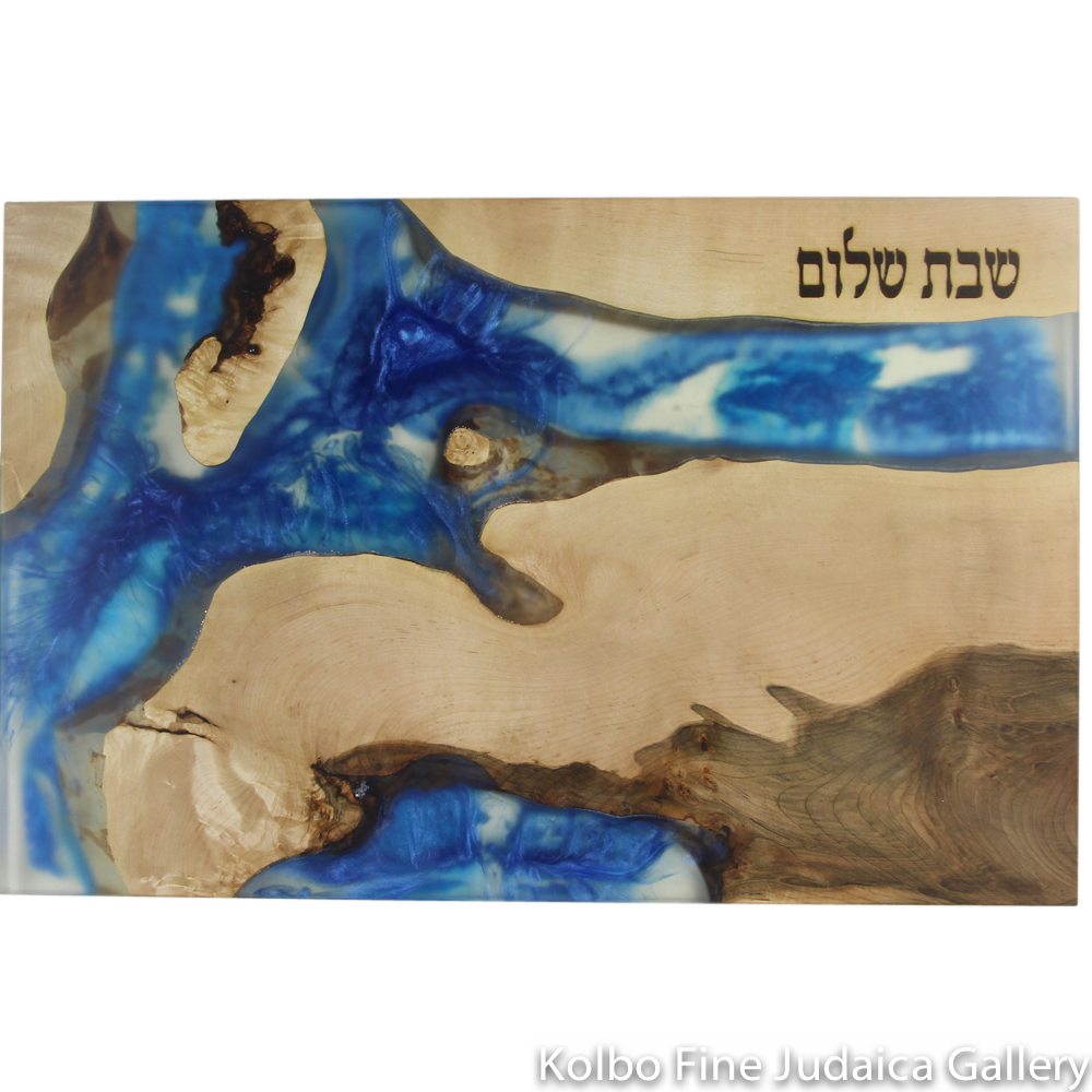 "Challah Board, Light and Dark Maple Wood with Horizontal Blue Epoxy, 19.5"" 12.5,"" One of a Kind"