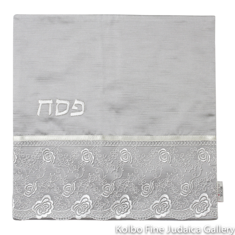 Matzah Cover, Gray with White Floral Lace Design