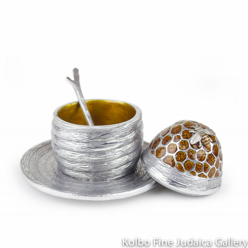 Honey Jar, Beehive Design, Pewter with Hand-Painted Enamel, Includes Spoon and Saucer