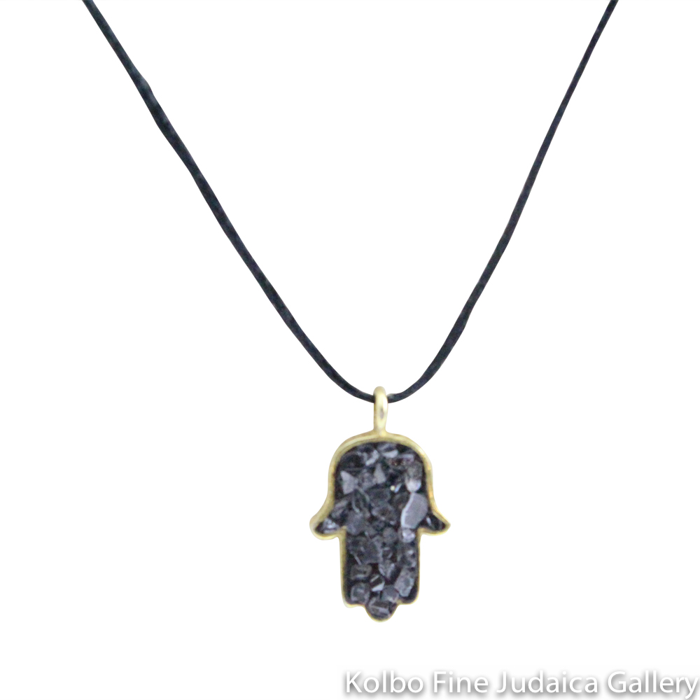 Necklace, Hamsa with Black Rose-Cut Diamonds, Gold Plate Over Sterling Silver, Black Cord