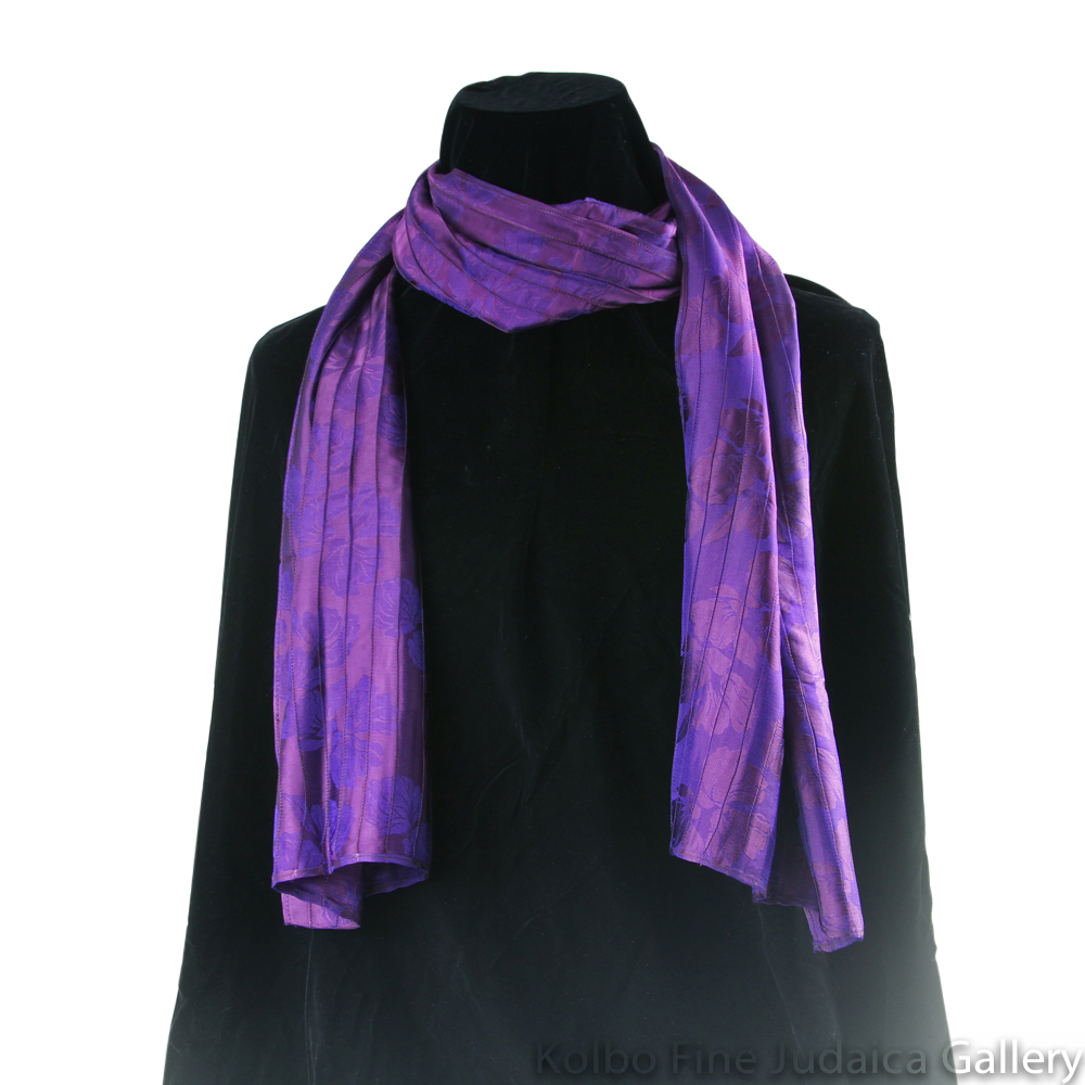Scarf, Purple and Plum Pin-Tucking, Silk, Hand-Made