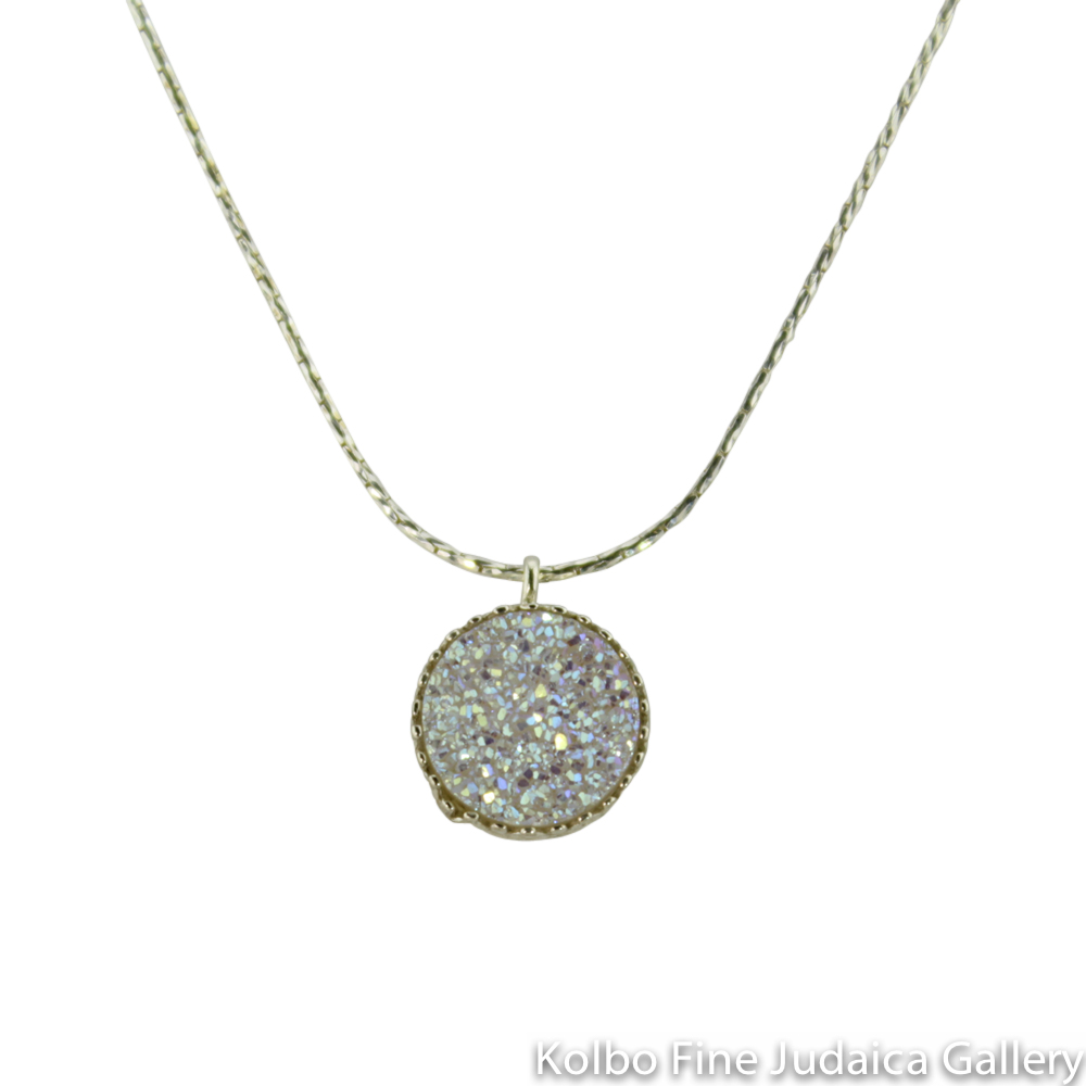 Necklace, Opal-Colored Agate Druzy Quartz, Round Pendant on Sterling Silver Chain