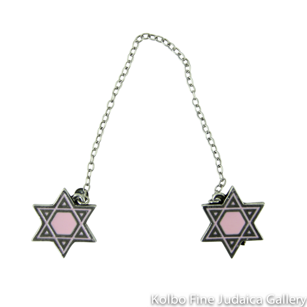 Tallit Clips, Star Design in Pale Pink, Pewter with Enamel