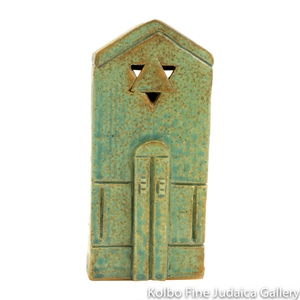 Tzedakah Box, Medium Shul Design, Ceramic with Patina Glaze