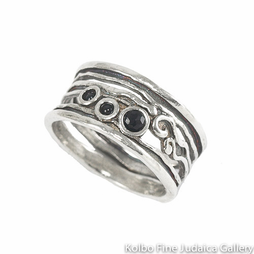Ring, Delicate Swirls of Sterling Silver Holding Three Onyx Stones