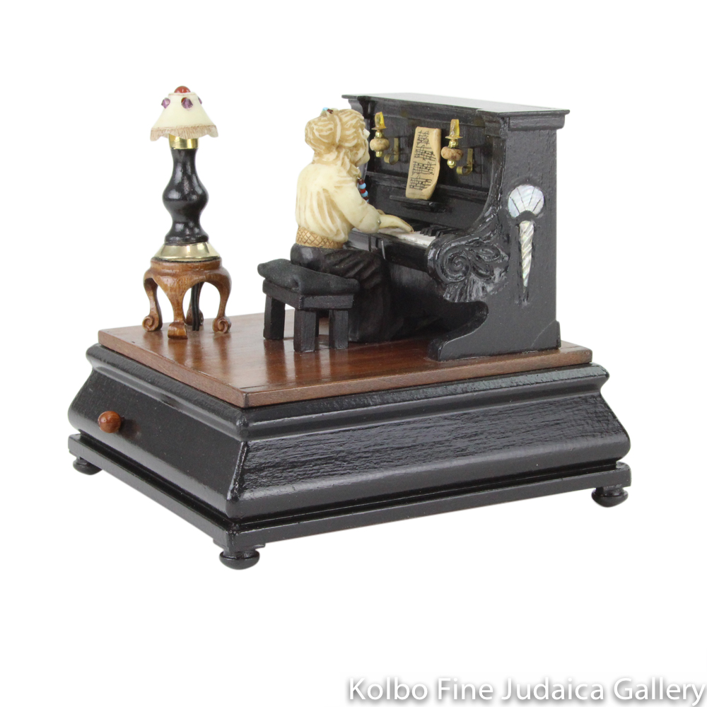 "Collectable, ""Timeless Music"" Music Box, Piano Player, Hand-Carved from Tagua Nut and Wood"