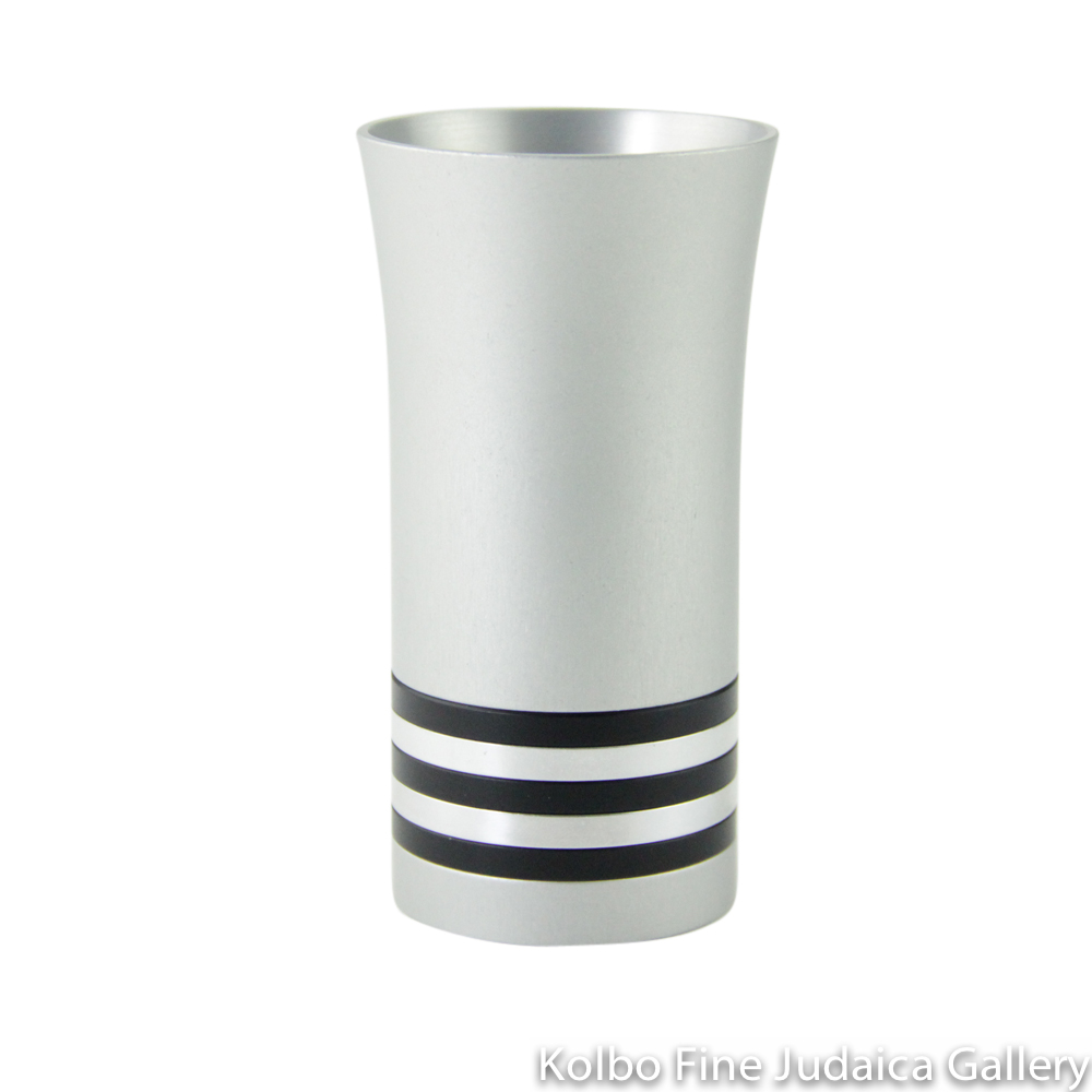 Kiddush Cup, Modern Anodized Aluminum Design with Black and Silver Rings