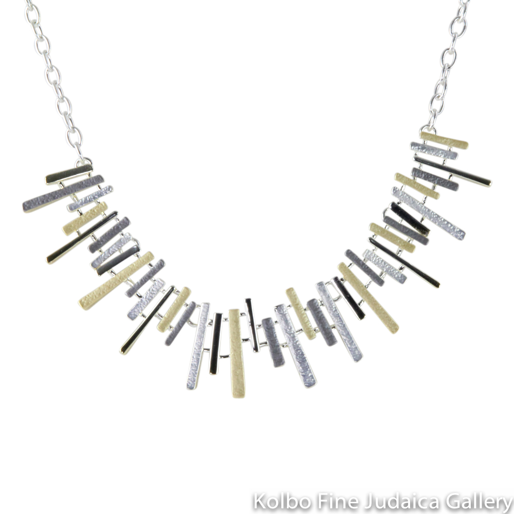 Necklace, Slim Angular Design, Two Layers, Sterling Silver and Gold Plated